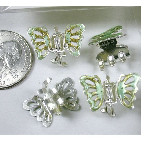 4 METAL MINI BUTTERFLY HAIR CLIPS PER UNIT, ASST COLORS